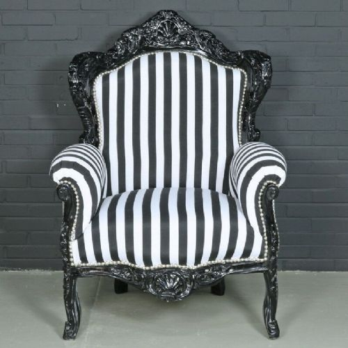 ARMCHAIR - BAROQUE STYLE ARMCHAIR BLACK & BLACK WHITE STRIPES # F30MB140